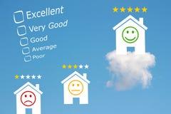 Classification d'examen d'hôtel avec des étoiles et l'emoji Photographie stock libre de droits