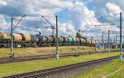 Classification of tank cars. By pushing over a hump Stock Images