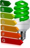 Classificazione verde di energia e della lampadina Fotografia Stock