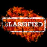 Classified. Illustration with classified word burning on black background Royalty Free Stock Images