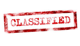 Classified. Red classified stamp on white background. illustration Royalty Free Stock Image