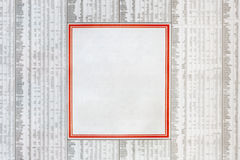 Classified Ad. Blank classified newspaper ad, in the middle of a financial page.  Red border Stock Images
