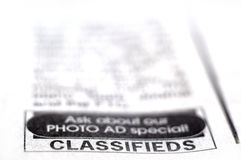 Classified Ad Royalty Free Stock Photography