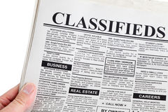 Classified Ad. Fake Classified Ad, newspaper, business concept Stock Photos