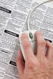Classified Ad and computer mouse. Fake Classified Ad, newspaper, business concept Stock Image