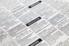 Classified Ad. Fake Classified Ad, newspaper, business concept Stock Images