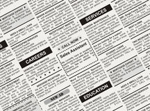 Classified Ad. Fake Classified Ad, newspaper, business concept Royalty Free Stock Photography