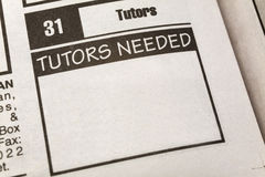 Classified Ad Tutors Needed Stock Images