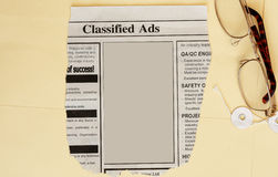 Classified ads. Newspaper classified ads. Employer seeking office assistance,fill in the blank space stock image