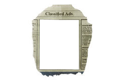 Classified ads. Isolated in white with blank space for your text royalty free stock image