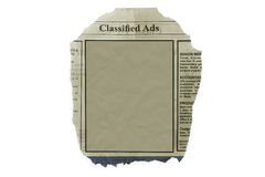 Classified ads. Isolated in white with blank space for your text royalty free stock photos