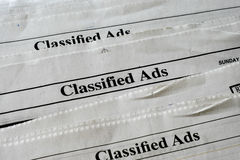 Classified Ads. Section of newspaper sunday edition stock photography
