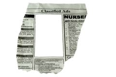 Classified Ads. Concept - cut out ready to use blank box for commercial stock image