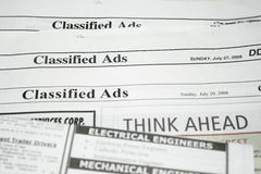 Classified Ads. Display concept for jobs wanting and advertisement business royalty free stock photography
