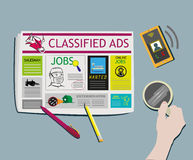 Classified Ads Newspaper concept Top View vector. Vector and Raster Image of man searching for a job in classified ads while drinking coffee royalty free illustration
