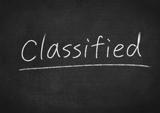 Classified. Concept word on blackboard background Royalty Free Stock Photography