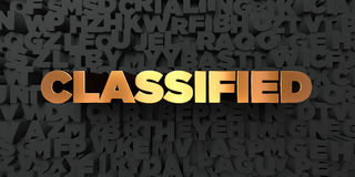 Classified - Gold text on black background - 3D rendered royalty free stock picture Royalty Free Stock Photography