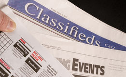 Classified Help Wanted Job Offered Ads in Traditional Print News. The Classified Help Wanted Job Offered Ads in Traditional Print Newspaper royalty free stock images