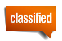Classified orange speech bubble. Isolated on white Royalty Free Stock Image