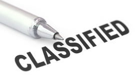 Classified printed in a white paper Stock Image
