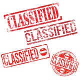 Classified Stamps. Different shape vector rubber stamp illustrations Royalty Free Stock Photography