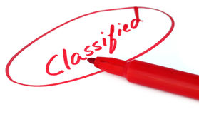 Classified. Written in red letters with sign pen Stock Photography