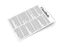 Classifieds. 3D rendered Illustration. A sheet of classifieds Stock Photography