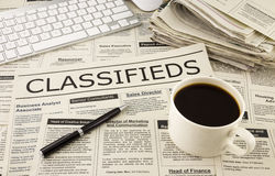 Classifieds ads on newspaper Stock Images