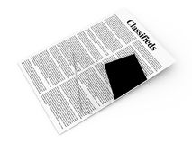 Classifieds. 3D rendered Illustration. A sheet of classifieds Stock Photos