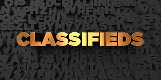 Classifieds - Gold text on black background - 3D rendered royalty free stock picture. This image can be used for an online website banner ad or a print Royalty Free Stock Images