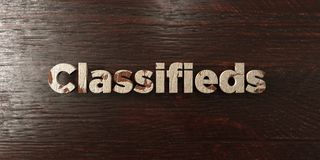 Classifieds - grungy wooden headline on Maple  - 3D rendered royalty free stock image. This image can be used for an online website banner ad or a print Royalty Free Stock Photos