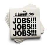 Classifieds Jobs Headline. Newspaper Classifieds Jobs Headline Isolated on White Background Royalty Free Stock Photos