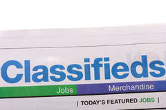 Classifieds newspaper Royalty Free Stock Photos