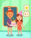 Classmate Boy Holding Cake for Birthday Girl. stock illustration