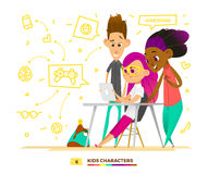 Classmates characterts look to the tablet. Royalty Free Stock Photo