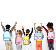 Classmates Friends Bag School Education. Children Classmates Friends Bag School Education Stock Photography