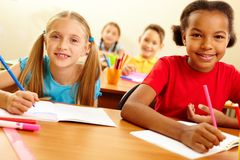 Classmates at lesson Royalty Free Stock Images