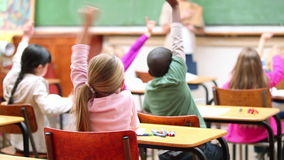 classmates raising their arms