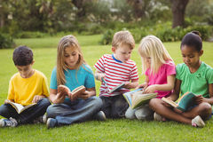 Classmates sitting in grass and reading books Royalty Free Stock Photo