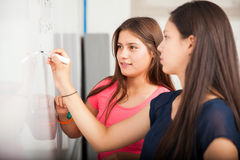 Classmates solving a problem Royalty Free Stock Image