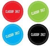 CLASSOF 2017 tekst na round falistej granica znaczka odznace, Obraz Royalty Free