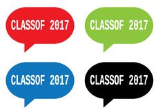 CLASSOF 2017 text, on rectangle speech bubble sign. CLASSOF 2017 text, on rectangle speech bubble sign, in color set royalty free illustration