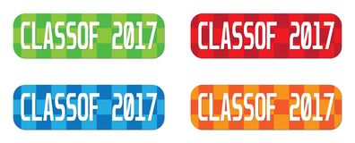 CLASSOF 2017 text, on rectangle, zig zag pattern stamp sign. CLASSOF 2017 text, on rectangle, zig zag pattern stamp sign, in color set stock illustration