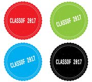 CLASSOF 2017 text, on round wavy border stamp badge. CLASSOF 2017 text, on round wavy border stamp badge, in color set vector illustration