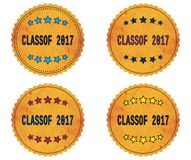 CLASSOF 2017 text, on round wavy border vintage, stamp badge. CLASSOF 2017 text, on round wavy border vintage stamp badge, in color set Royalty Free Stock Photo