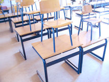 Classroom. Empty classroom with chairs on tables Stock Photos