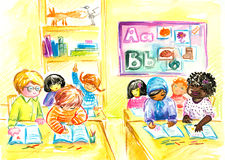 In classroom. Children different nationality in classroom.Picture I have created myself with watercolors Stock Photos