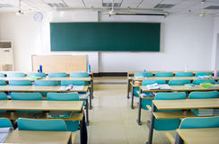Classroom. New classroom:there are blackboard,clock,desks and chairs Stock Image