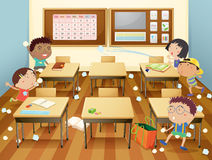 Classroom. Illustration of kids in a classroom Royalty Free Stock Image