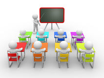 Classroom. 3d people - men , person with pointer in hand close to blackboard. Concept of education and learning Stock Image